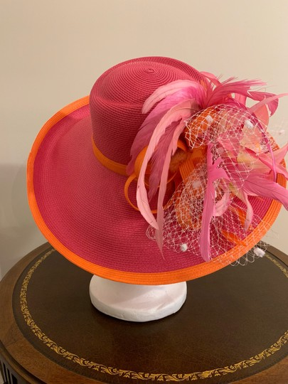 Dee's Pink hat with Orange trim and accents Image 3