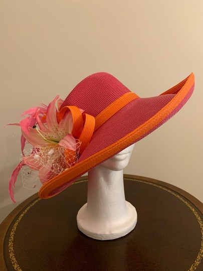 Dee's Pink hat with Orange trim and accents Image 4