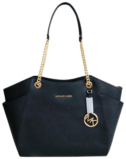 Preload https://img-static.tradesy.com/item/25253659/michael-michael-kors-chain-shoulder-black-leather-tote-0-1-540-540.jpg