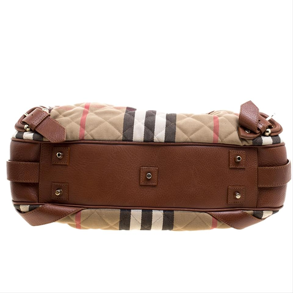 85db1339739f Burberry Brown Beige and Quilted House Check Margaret Brown Leather  Shoulder Bag - Tradesy
