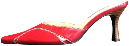 Nine West Pointy Toe Kitten Heel Dress Red Mules Image 1