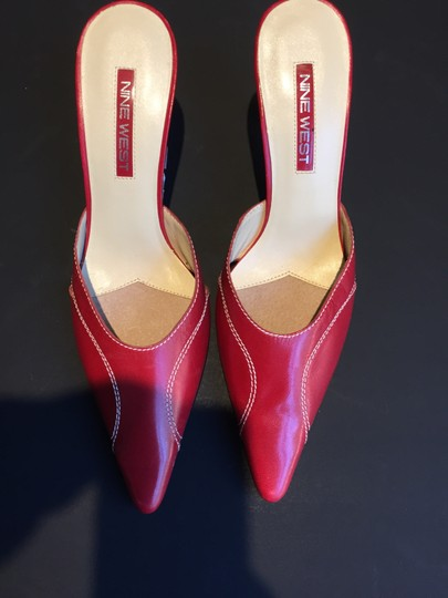Nine West Pointy Toe Kitten Heel Dress Red Mules Image 3