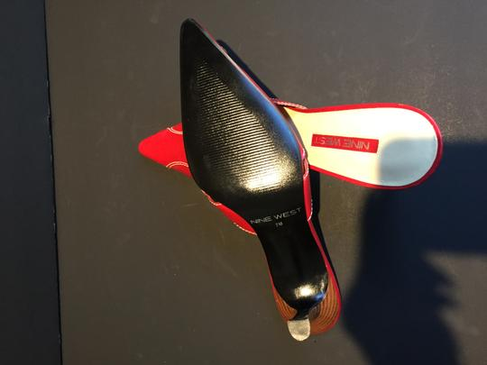 Nine West Pointy Toe Kitten Heel Dress Red Mules Image 5