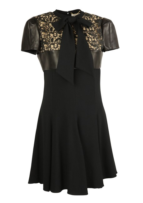 Preload https://img-static.tradesy.com/item/25253726/saint-laurent-black-leather-and-lace-bow-short-casual-dress-size-6-s-0-2-650-650.jpg