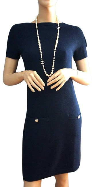 Preload https://img-static.tradesy.com/item/25253732/chanel-navy-09a-cashmere-clover-badge-sleeve-knit-mid-length-short-casual-dress-size-6-s-0-1-650-650.jpg