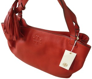 Tory Burch Leather Casual Logo Tote in Red
