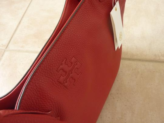 Tory Burch Leather Casual Logo Tote in Red Image 3
