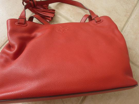 Tory Burch Leather Casual Logo Tote in Red Image 6