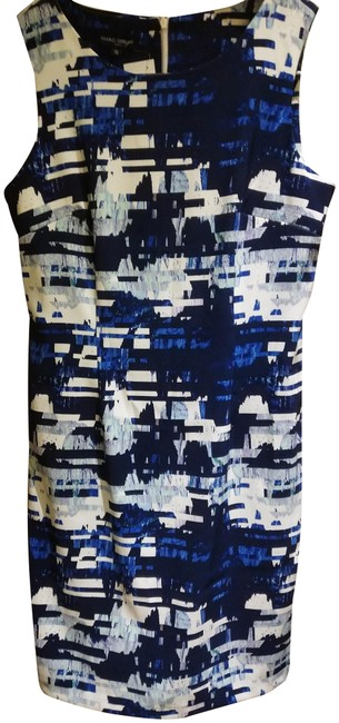 Preload https://img-static.tradesy.com/item/25253914/blue-white-made-in-italy-sleeveless-print-mid-length-workoffice-dress-size-10-m-0-1-650-650.jpg