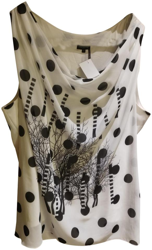 Black White Xl Made In Turkey Polkadot and Print Sleeveless Blouse Size 16  (XL, Plus 0x)