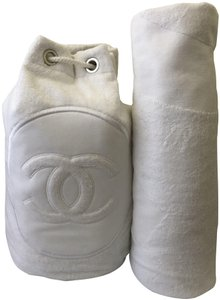 Chanel Towel Tote Terrycloth White Beach Bag