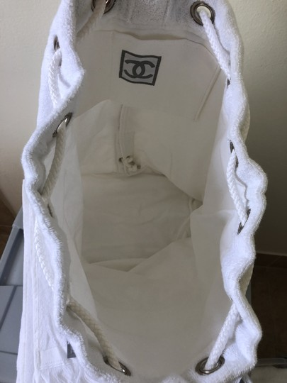 Chanel Towel Tote Terrycloth White Beach Bag Image 3
