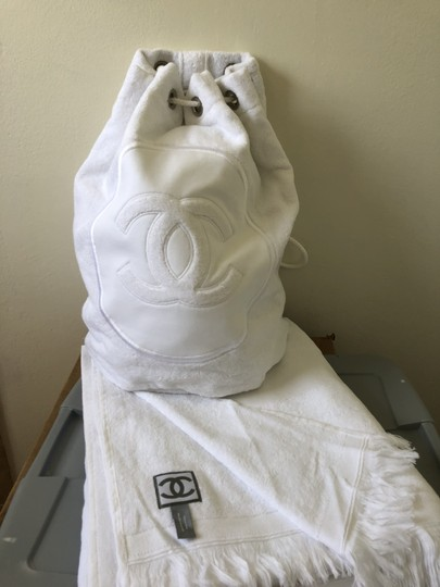 Chanel Towel Tote Terrycloth White Beach Bag Image 4