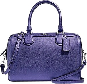 Coach Satchel in Metallic Periwinkle/ Silver