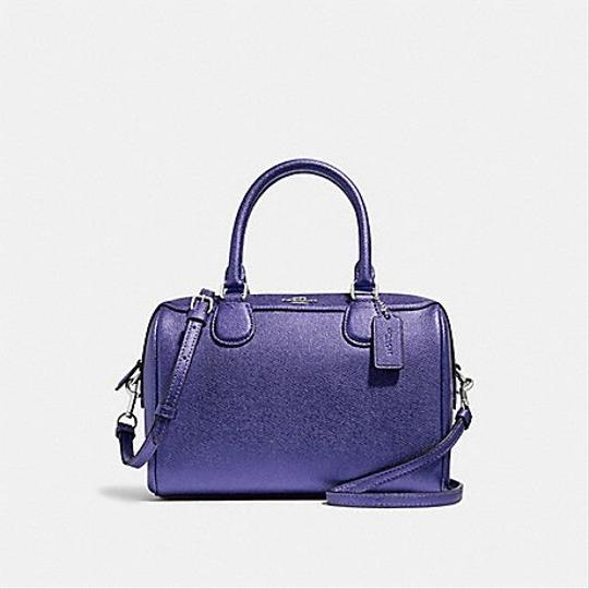 Coach Satchel in Metallic Periwinkle/ Silver Image 2