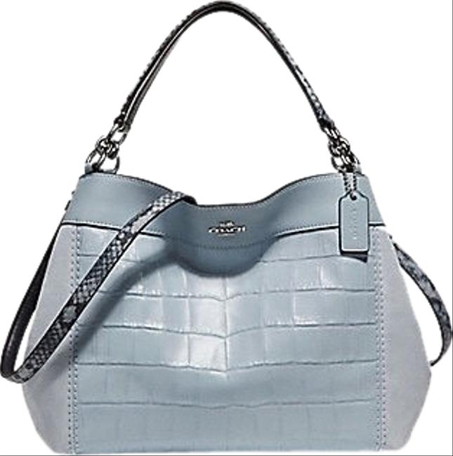 Item - Lexy Small Silver / Pale Blue Leather Shoulder Bag