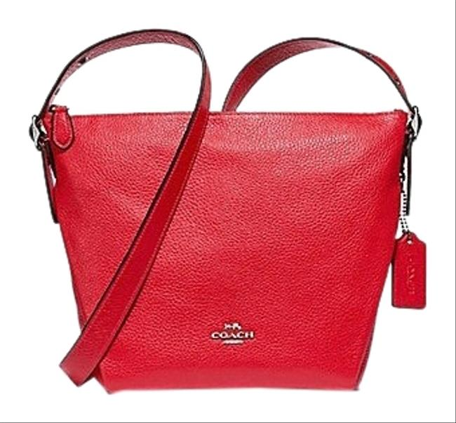 Item - Duffle Danny Bright Red / Silver Leather Messenger Bag
