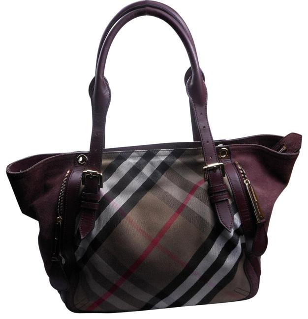 Burberry Check Leather Suede Adjustable Straps Canvas Tote Burberry Check Leather Suede Adjustable Straps Canvas Tote Image 1