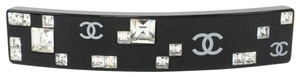 Chanel AUTHENTIC Chanel Hair Barrette Black Square Crystals CC 2005