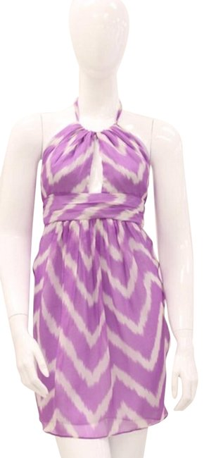 Item - Purple White Silk Chevron Halter Keyhole Short Casual Dress Size 8 (M)