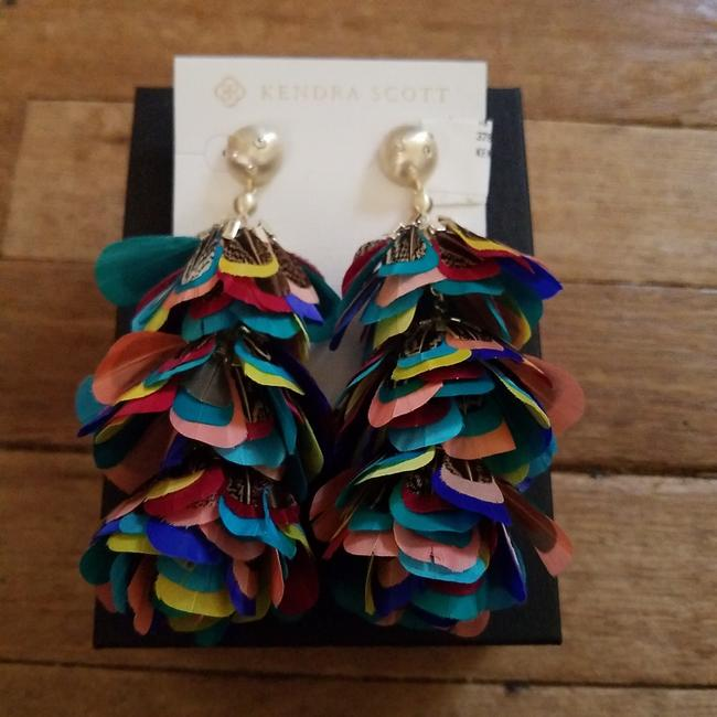 Item - Teal Purple Blue Yellow Fabulous Statement Multicolor Feather Earrings