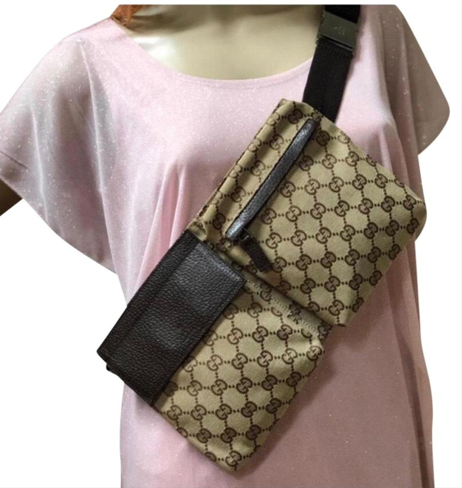 19704fde5f35 Gucci Gg Fanny Pack Beltbag Sling Brown Canvas Cross Body Bag - Tradesy
