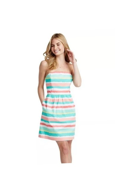 Item - Multi Green Coral Painted Stripe Short Casual Dress Size 00 (XXS)