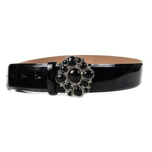 Chanel New: Gripoix Belt Black Patent Leather Black Stone Buckle