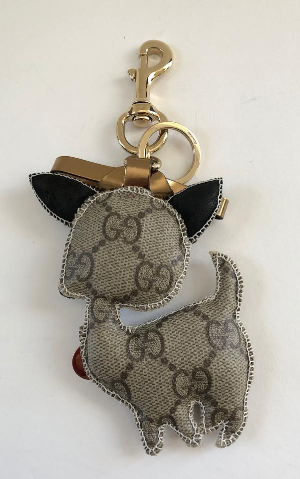 fa9b2a820e2 Gucci Brown Gg Canvas Leather Key Ring Charm Poodle Dog - Tradesy