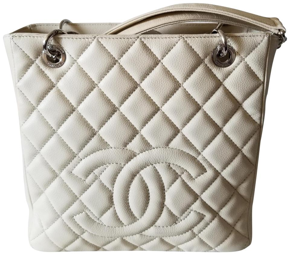 2efe42081dbe Chanel Shopping Pst Pettie Silver Hardware Ivory Caviar Leather Tote ...