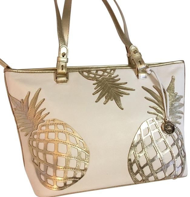 Item - Del Pina Pineapples Asher White and Gold Leather Tote