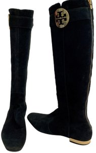 Tory Burch Suede Tall Gold Accents Exposed Zipper Pointed Toe BLACK Boots