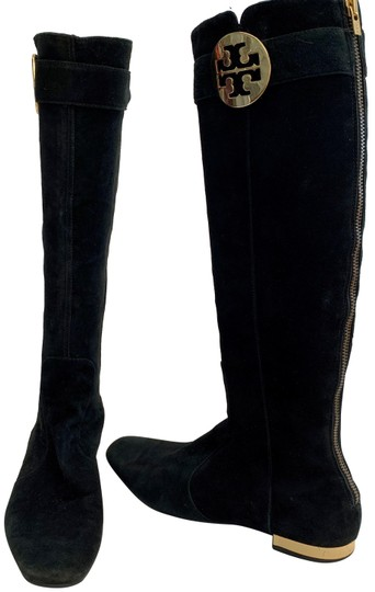 Tory Burch Black Suede Leather Knee