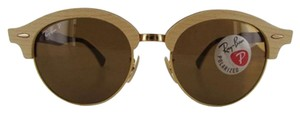Ray-Ban Retail $348 Ray-Ban Round Wood Clubmasters Retro Polarized Sunglasses