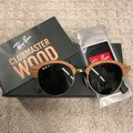 Ray-Ban Retail $348 Ray-Ban Round Wood Clubmasters Retro Polarized Sunglasses Image 2