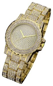 Other NEW Gorgeous Bling Bling Stainless Steel Gold Watch studded with CZs