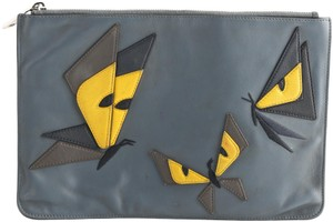 Fendi Monster Leather Pouch blue Clutch