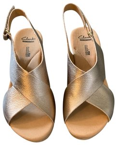 Clarks Gold Wedges
