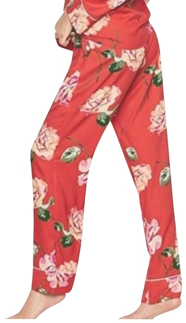 Item - Red Floral Satin Pajama Pocket Xlarge Long Pants Size 16 (XL, Plus 0x)