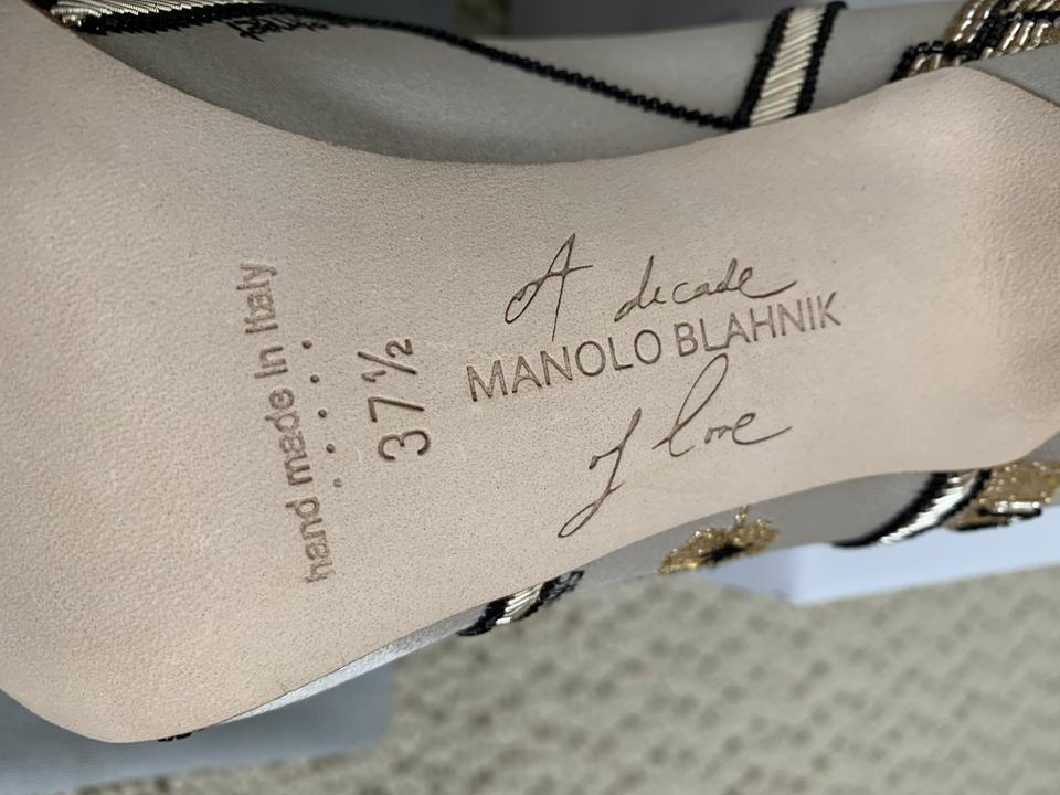 797746f82a1c3 Manolo Blahnik Gray Black Gold Hangisi Nyc Map 10th Anniversary Jeweled  Brooch Embroidered Pumps Size EU 37.5 (Approx. US 7.5) Regular (M, B) -  Tradesy
