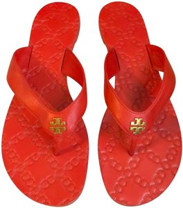Tory Burch Leather Casual Summer Logo Red Sandals