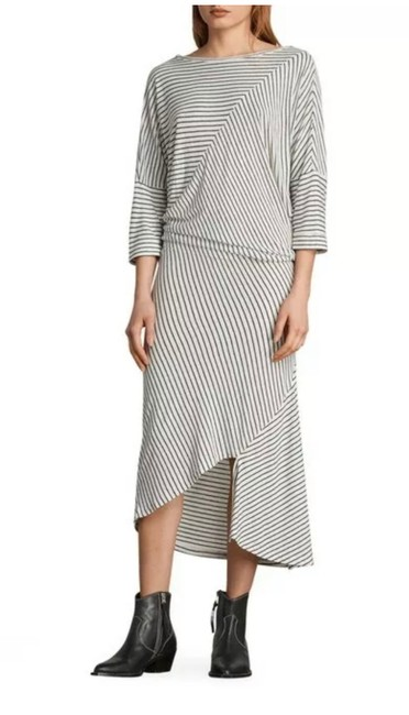 Item - Black and White Striped Cadie Knit Mid-length Casual Maxi Dress Size 12 (L)