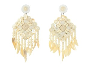 Tory Burch Tory Burch Beaded Shell Statement Earrings