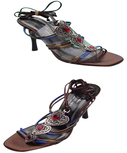 Item - Pewter Multi Color Metallic Couture Leather Strappy Heel Gem Stone Sandals Size US 8.5 Regular (M, B)