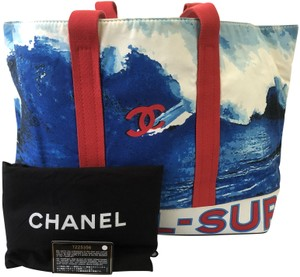 Chanel Tote Summer Casual Red,White, Blue Beach Bag