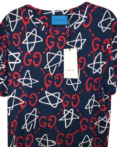 Gucci T Shirt Blue with Red and White design
