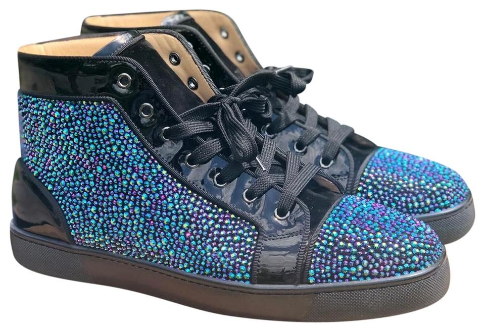 buy popular 12149 09f2f Christian Louboutin Black/Green Louis Flat Vv/Patent/Gg/Pave Strass  Sneakers Size US 10.5 Regular (M, B) 32% off retail