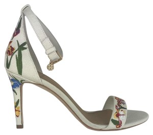 17a4bb856 Tory Burch Embroidered Floral Fabric Logo White Multi Sandals