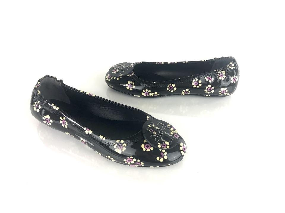 1251ed8c94f8 Tory Burch Black Minnie Travel Ballet Patent Floral Flats. Size  US ...