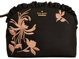 Kate Spade Makeup Cosmetics Ruffle Detail Florals Embroidery Black Travel Bag